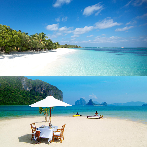Maldives (top), El Nido Palawan (bottom)